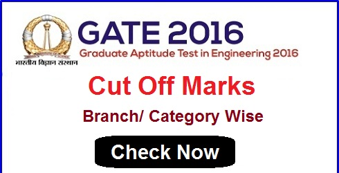 GATE 2016 Cut Off Marks Branch Wise