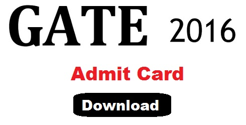 GATE 2016 Admit Card