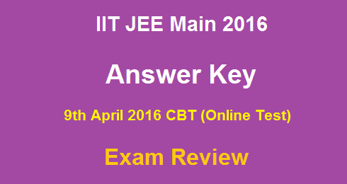 JEE Main 2016 Answer Key