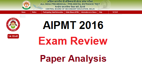 AIPMT 2016 Exam Review