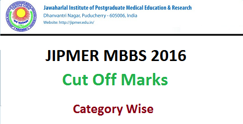 JIPMER MBBS 2016 Cut Off Marks