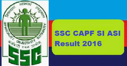 SSC CAPF SI ASI Result 2016