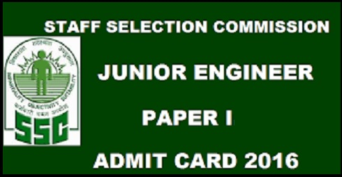 SSC JE Admit Card 2016