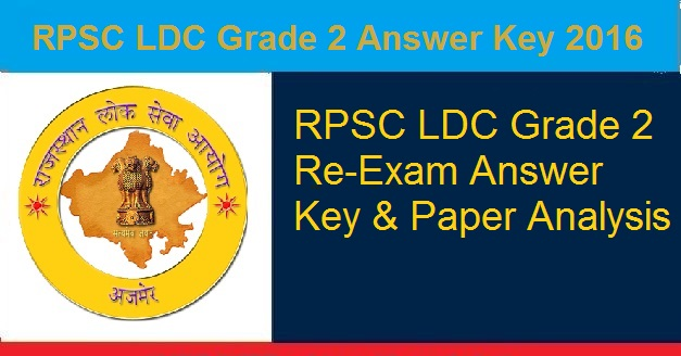 RPSC LDC Grade 2 Answer Key 2016