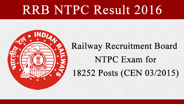 RRB NTPC Results 2016