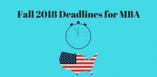 Fall 2018 Deadlines for MBA in USA